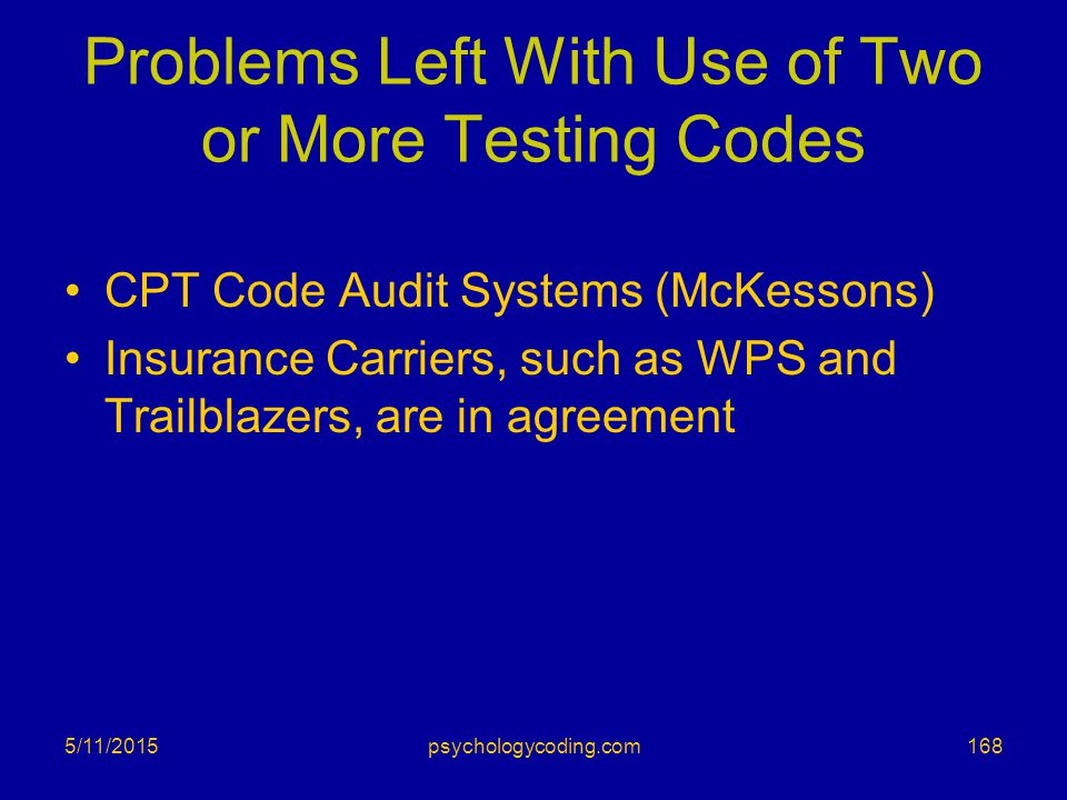 Problems Left With Use of Two or More Testing Codes