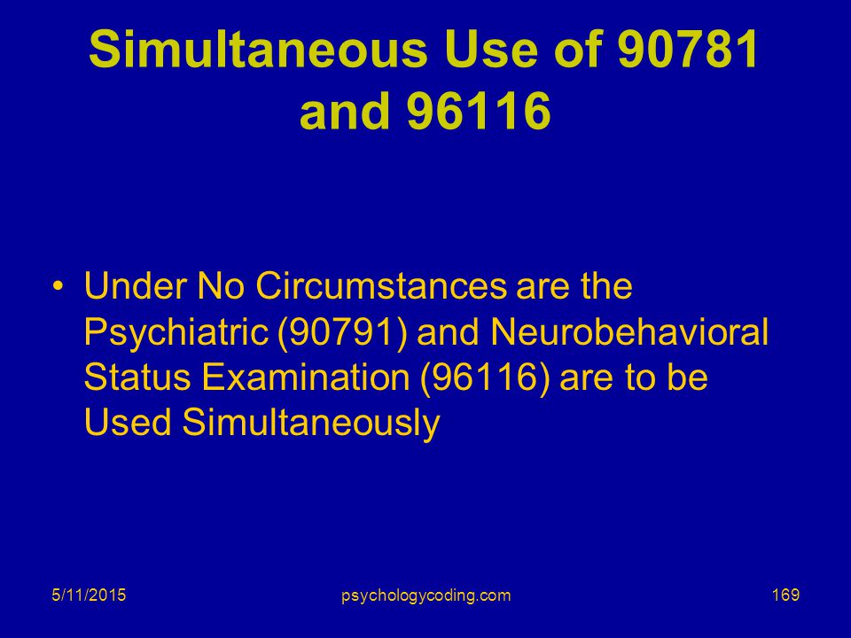 Simultaneous Use of 90781 and 96116