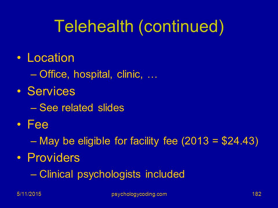 Telehealth (continued)
