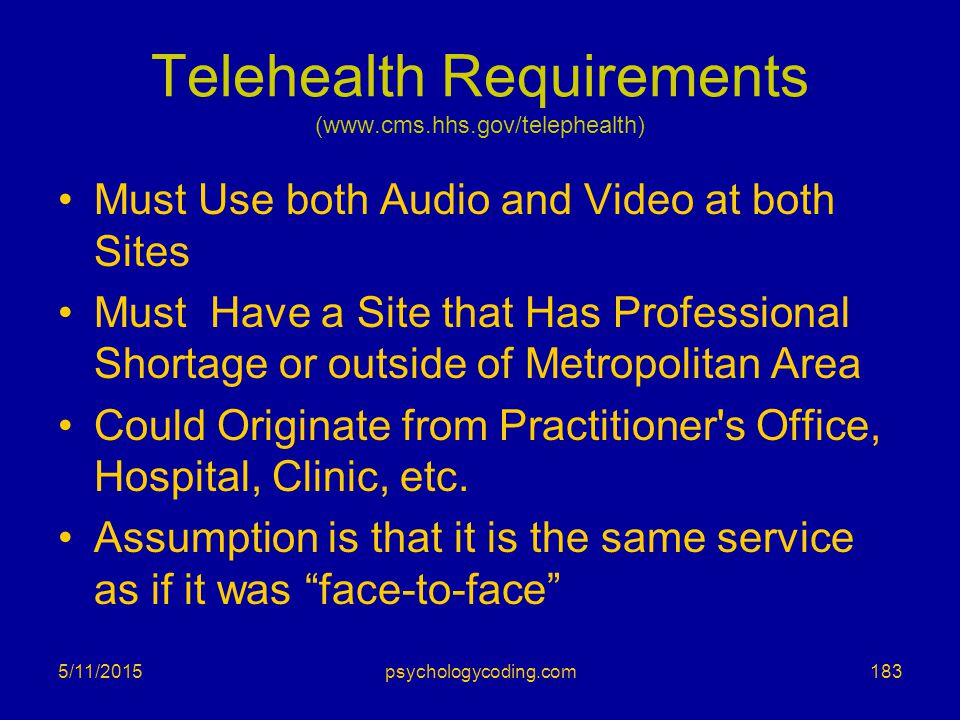 Telehealth Requirements (www.cms.hhs.gov/telephealth)