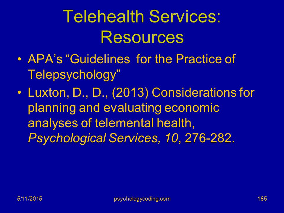 Telehealth Services: Resources