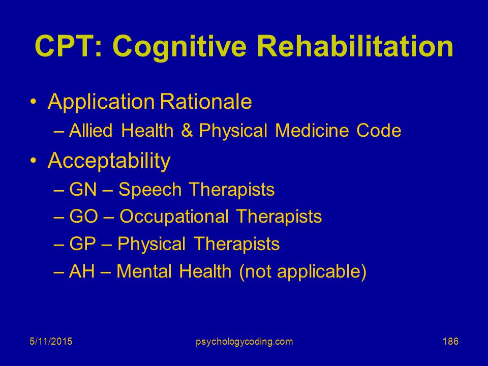 CPT: Cognitive Rehabilitation