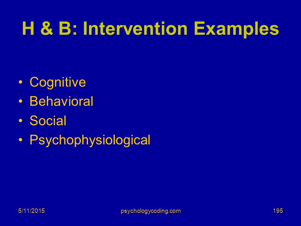 H & B: Intervention Examples