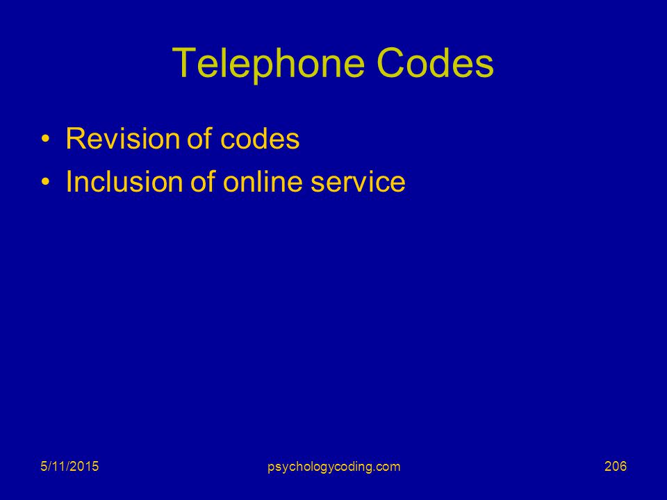 Telephone Codes Revision of codes Inclusion of online service