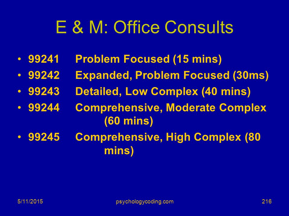 E & M: Office Consults 99241 Problem Focused (15 mins)