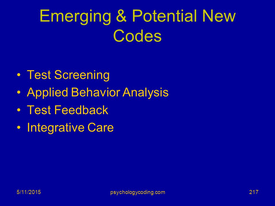 Emerging & Potential New Codes