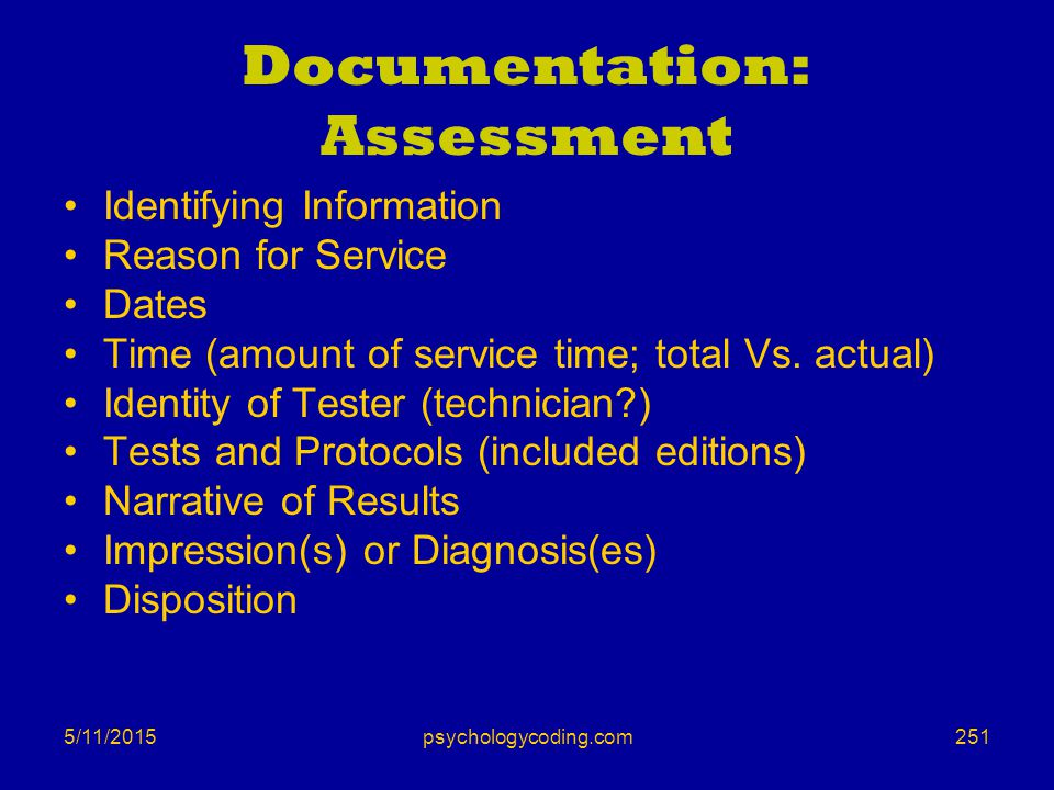 Documentation: Assessment