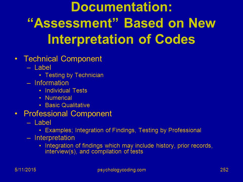 Documentation: Assessment Based on New Interpretation of Codes