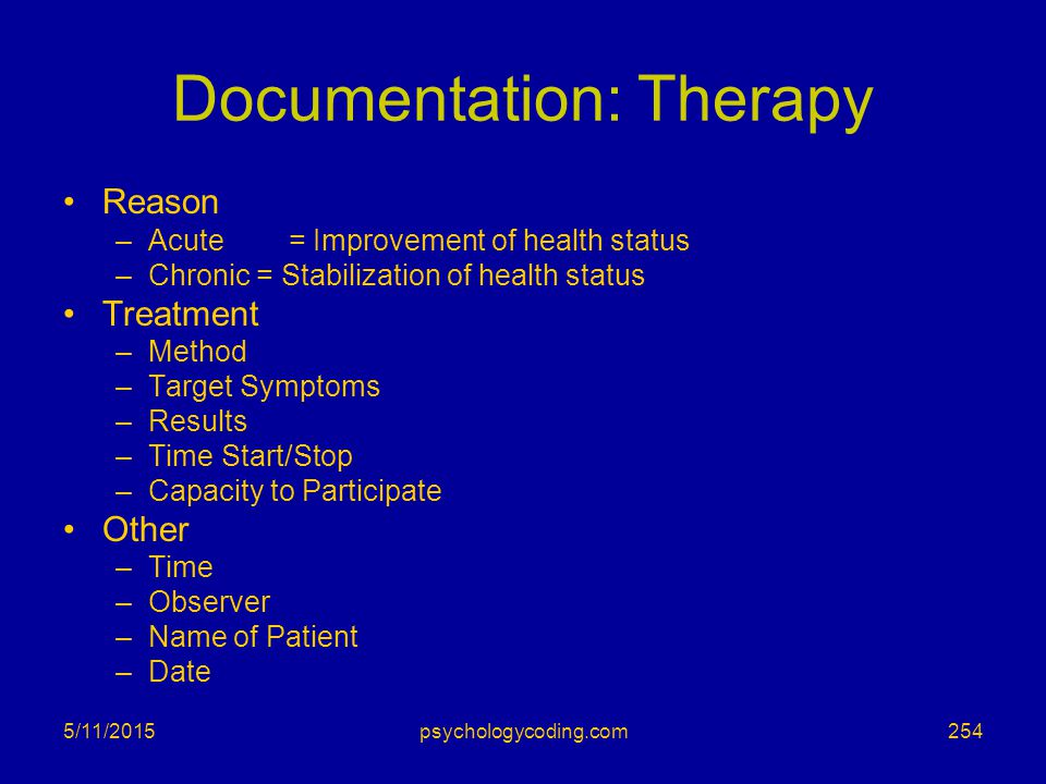 Documentation: Therapy