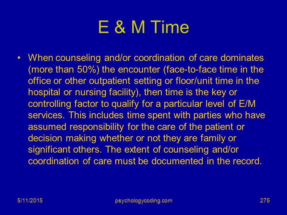 E & M Time