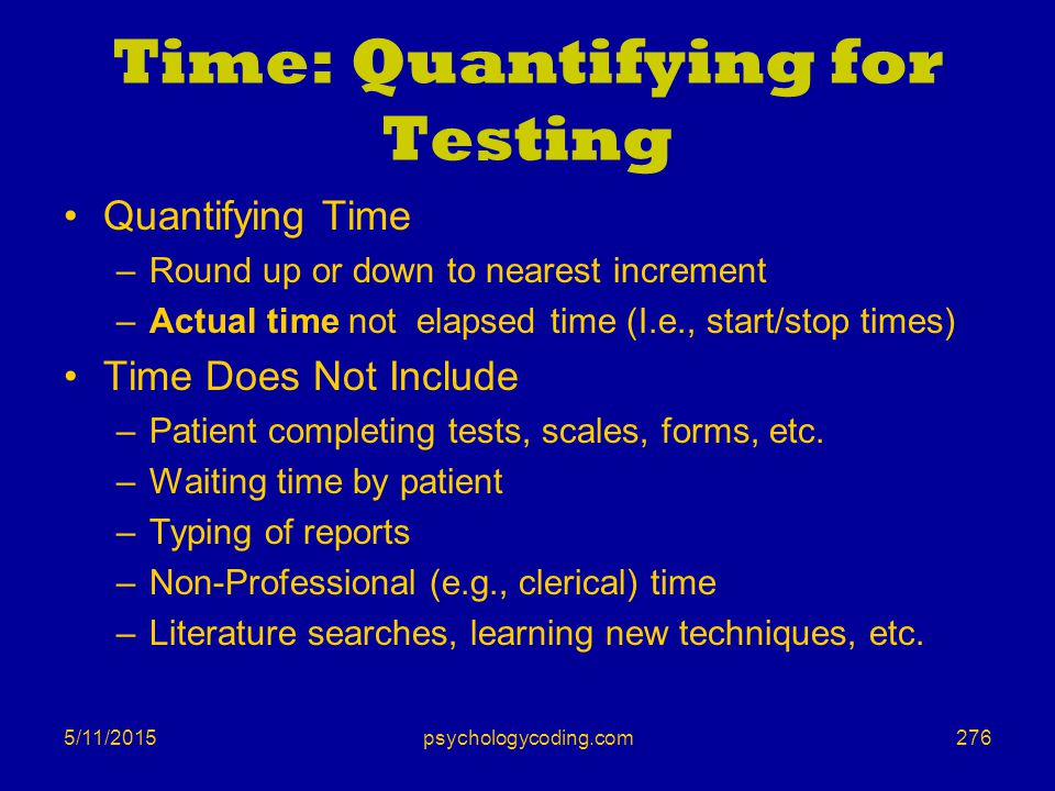 Time: Quantifying for Testing