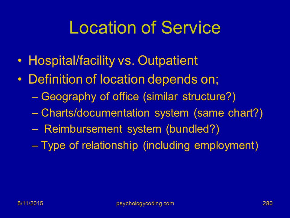 Location of Service Hospital/facility vs. Outpatient