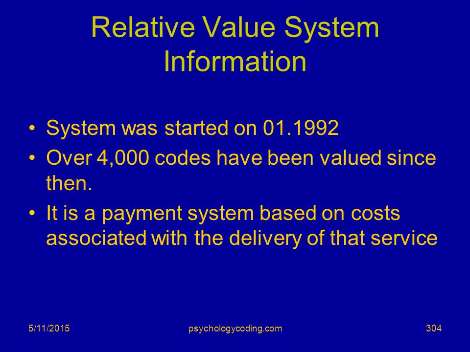 Relative Value System Information