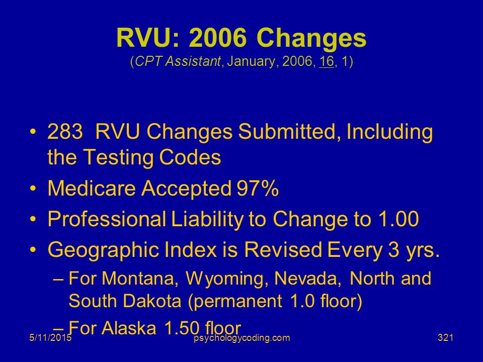 RVU: 2006 Changes (CPT Assistant, January, 2006, 16, 1)