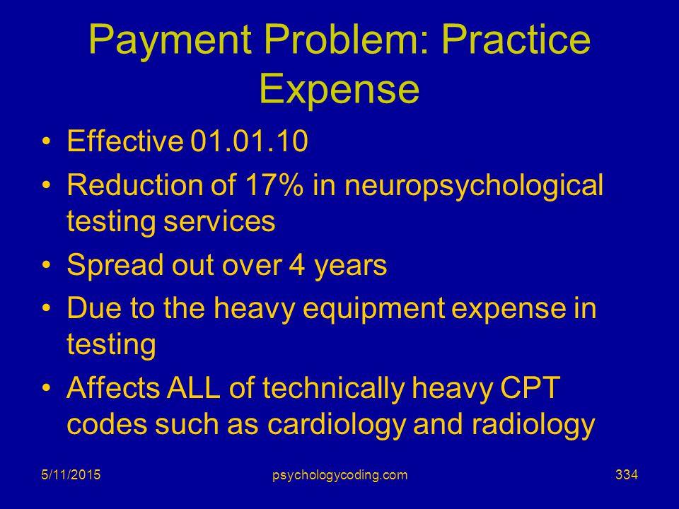 Payment Problem: Practice Expense