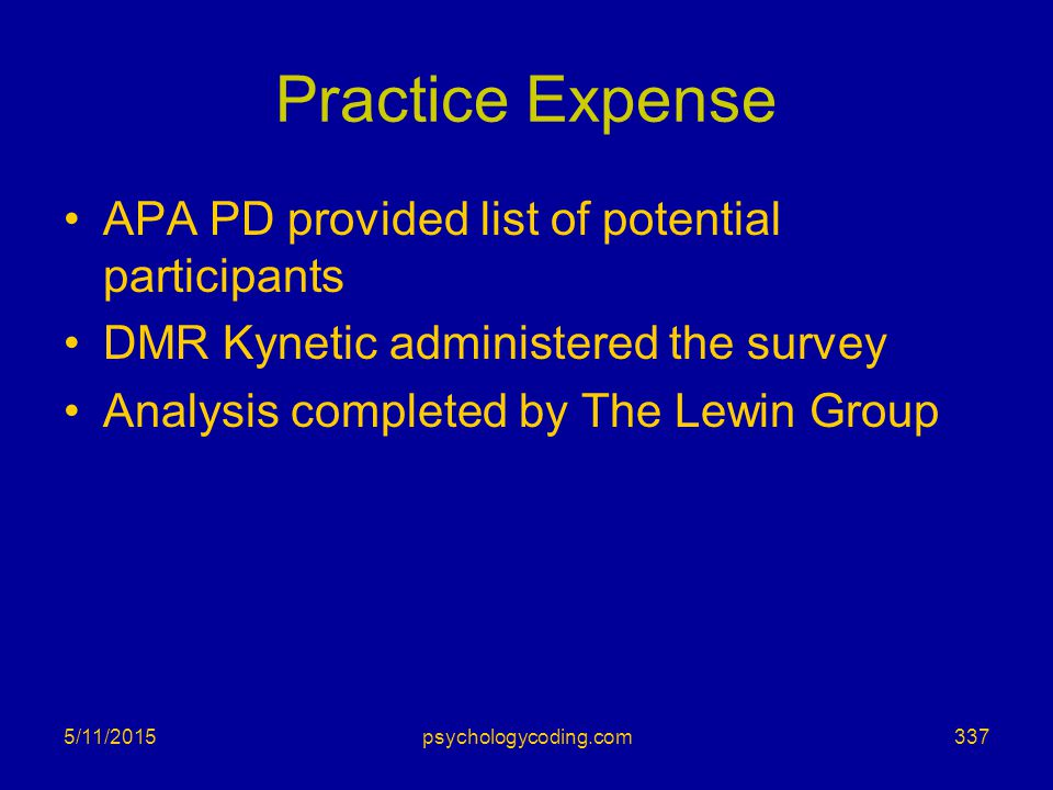 Practice Expense APA PD provided list of potential participants