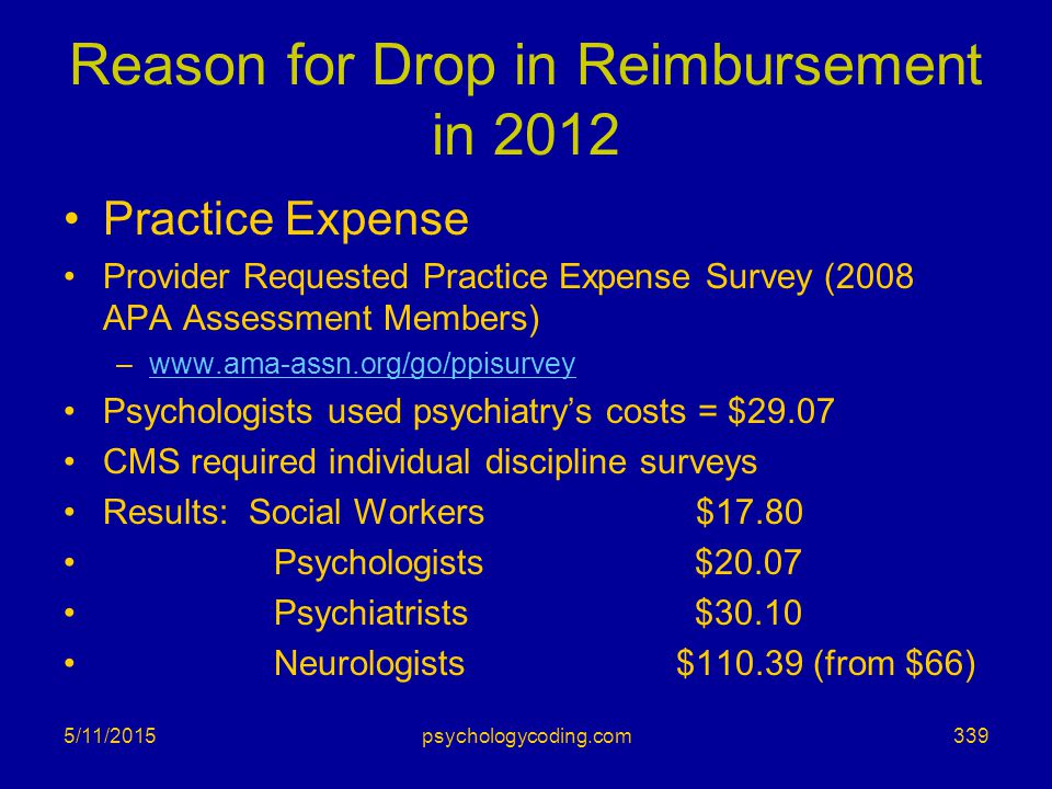 Reason for Drop in Reimbursement in 2012