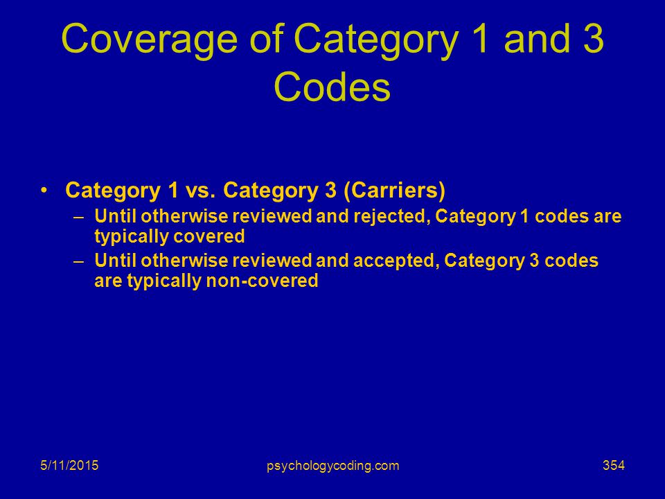 Coverage of Category 1 and 3 Codes