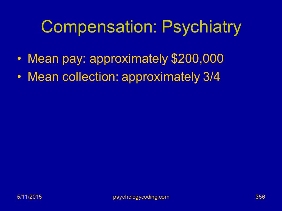 Compensation: Psychiatry