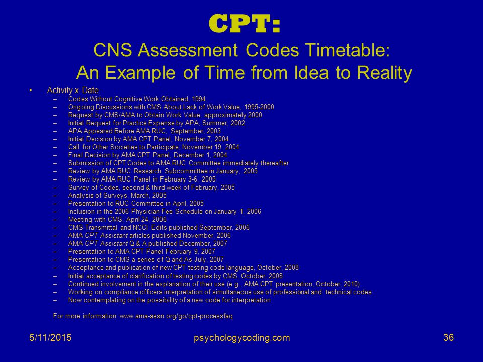 CPT: CNS Assessment Codes Timetable: An Example of Time from Idea to Reality