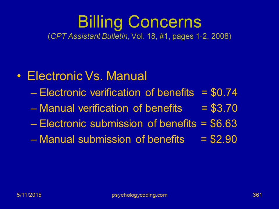 Billing Concerns (CPT Assistant Bulletin, Vol. 18, #1, pages 1-2, 2008)