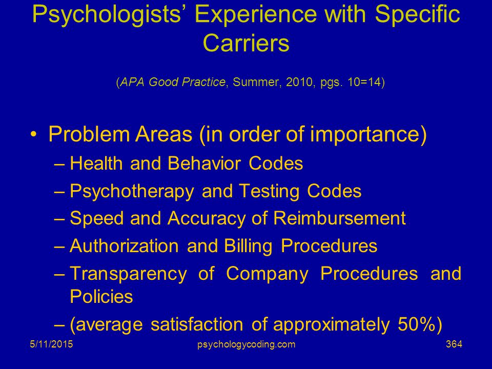 Psychologists' Experience with Specific Carriers (APA Good Practice, Summer, 2010, pgs. 10=14)