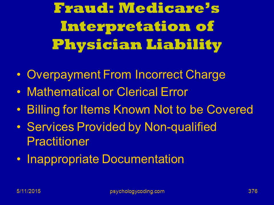 Fraud: Medicare's Interpretation of Physician Liability