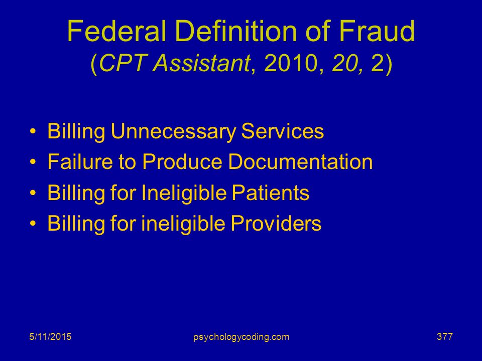 Federal Definition of Fraud (CPT Assistant, 2010, 20, 2)