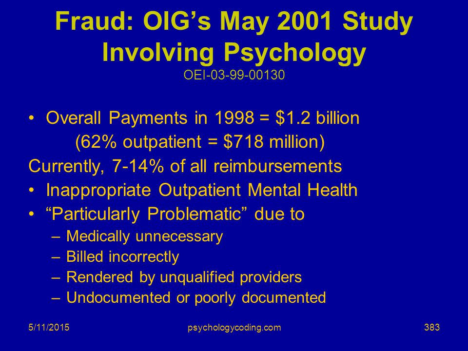Fraud: OIG's May 2001 Study Involving Psychology OEI-03-99-00130