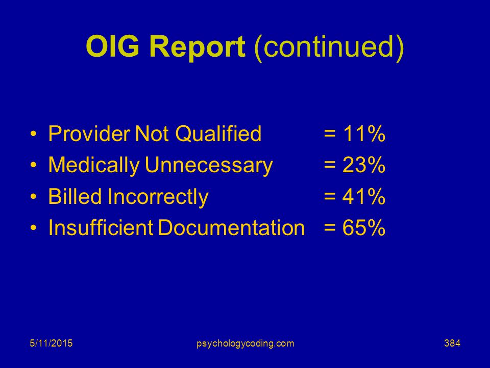 OIG Report (continued)