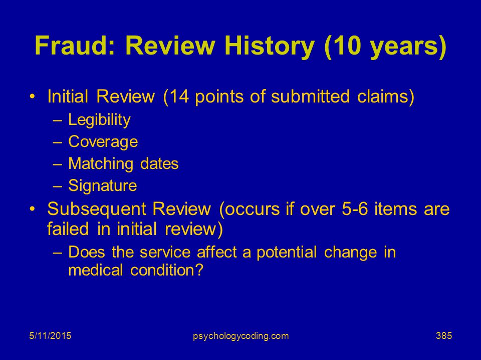 Fraud: Review History (10 years)