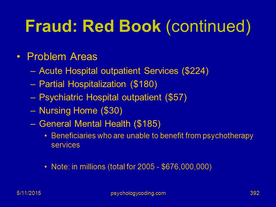 Fraud: Red Book (continued)