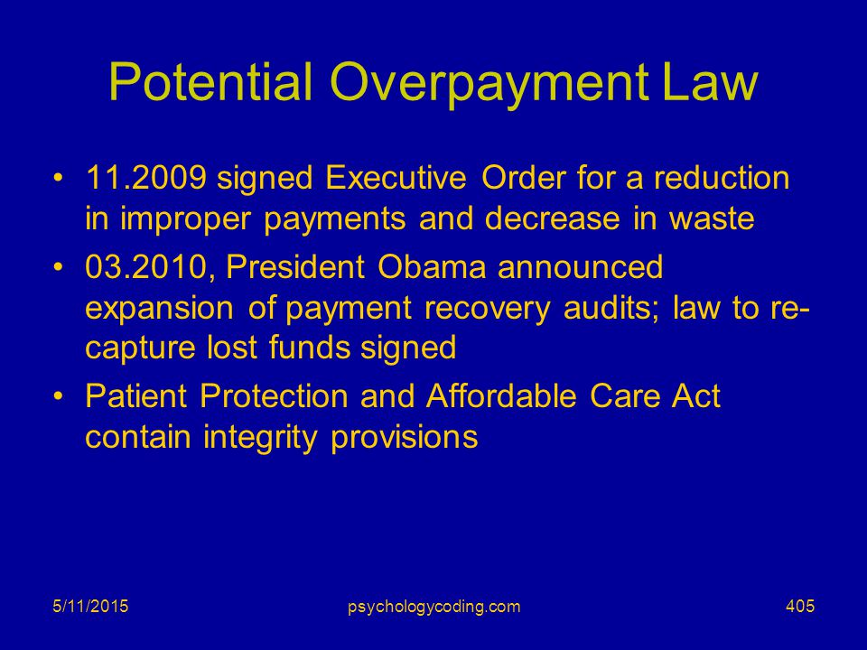 Potential Overpayment Law