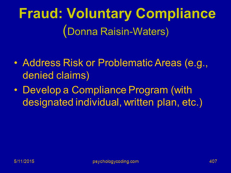 Fraud: Voluntary Compliance (Donna Raisin-Waters)