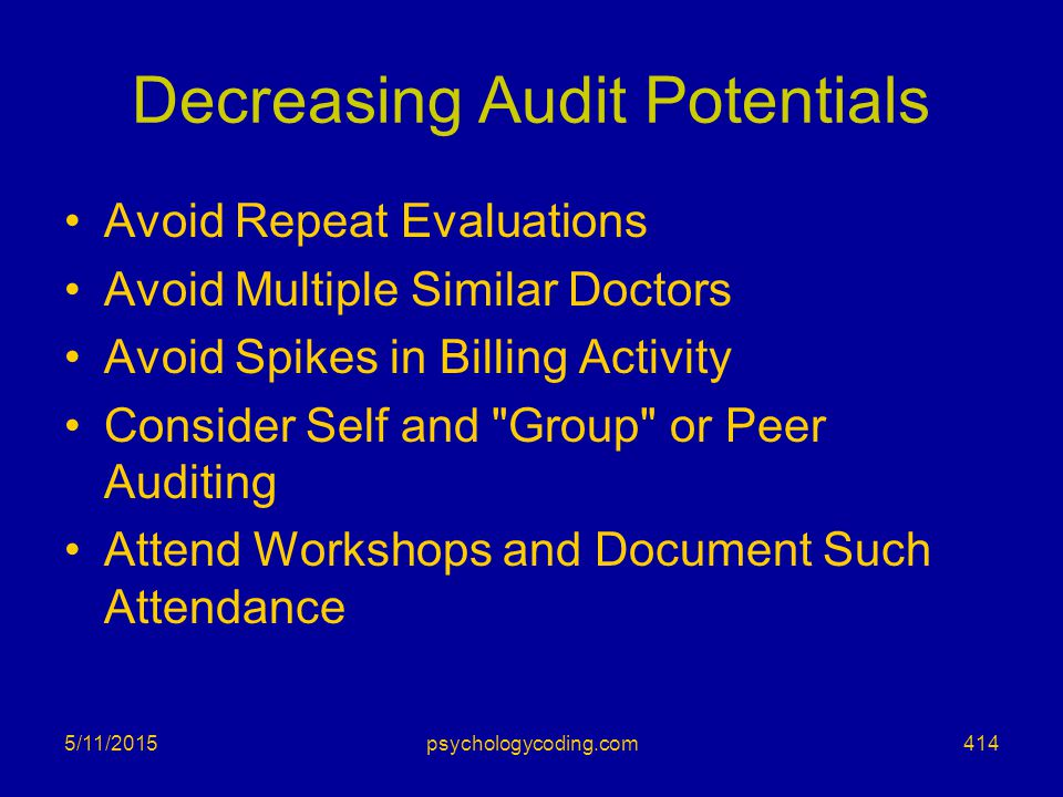 Decreasing Audit Potentials