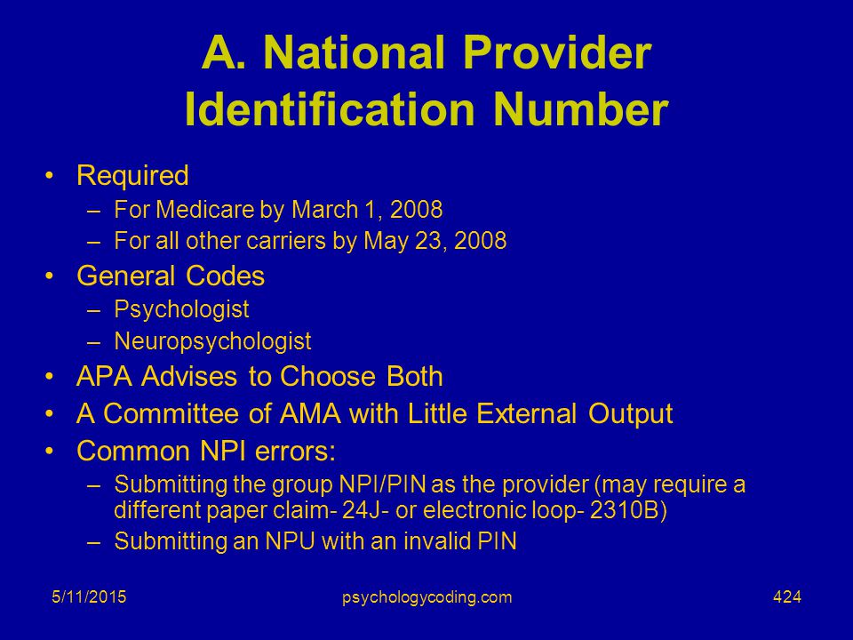A. National Provider Identification Number