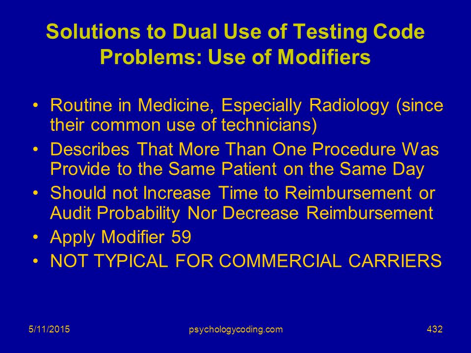 Solutions to Dual Use of Testing Code Problems: Use of Modifiers