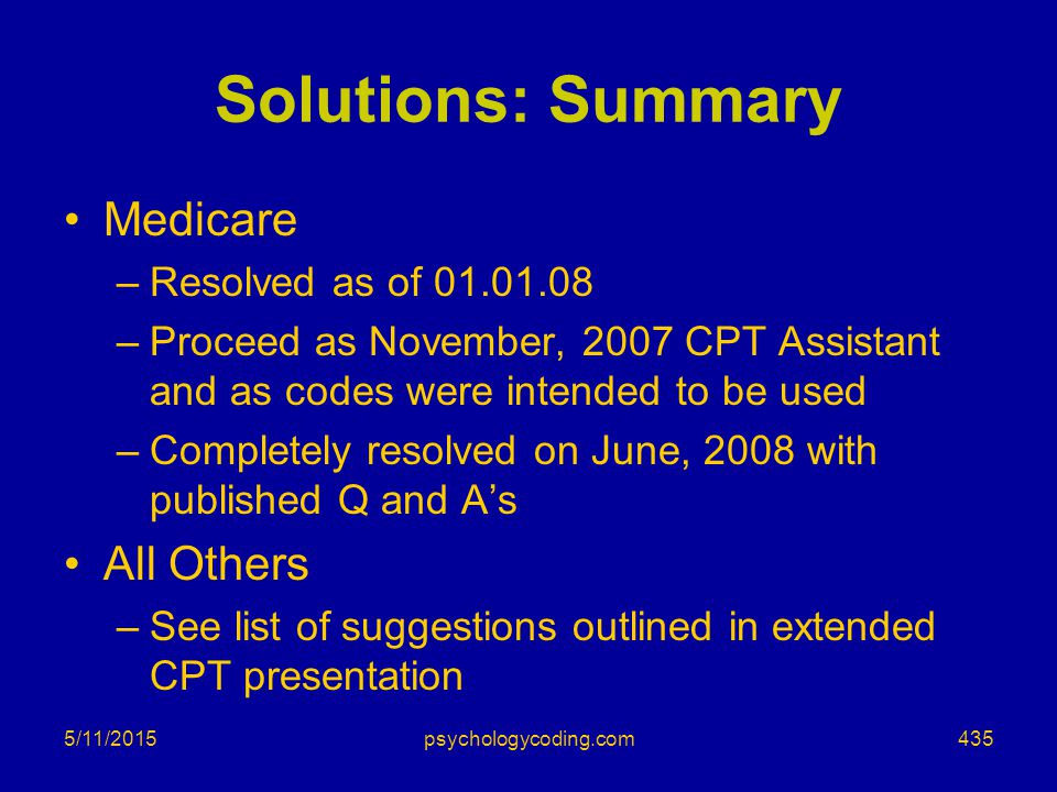 Solutions: Summary Medicare All Others Resolved as of 01.01.08