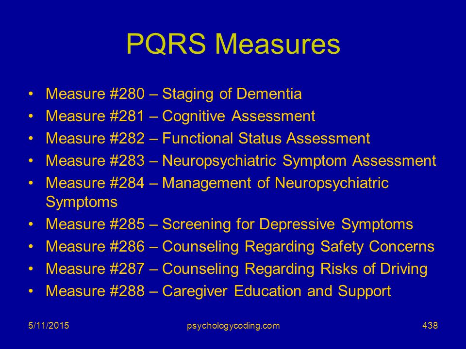 PQRS Measures Measure #280 – Staging of Dementia