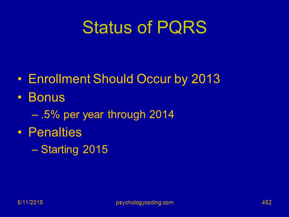 Status of PQRS Enrollment Should Occur by 2013 Bonus Penalties