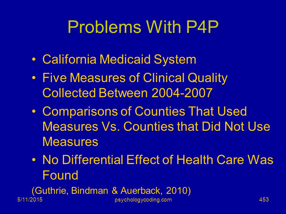 Problems With P4P California Medicaid System