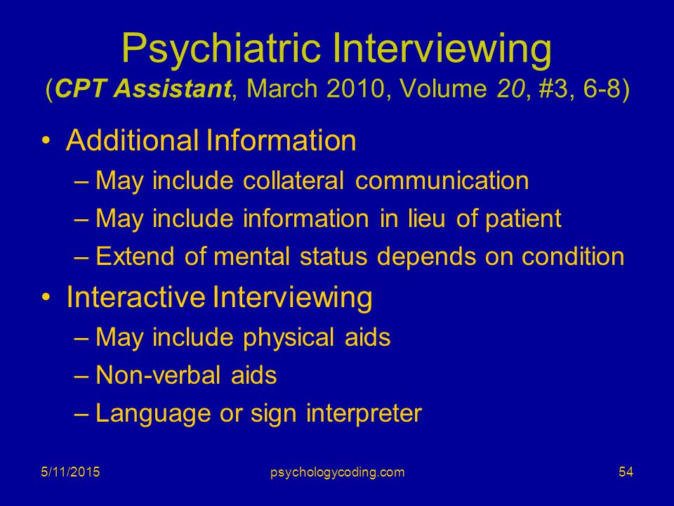 Psychiatric Interviewing (CPT Assistant, March 2010, Volume 20, #3, 6-8)