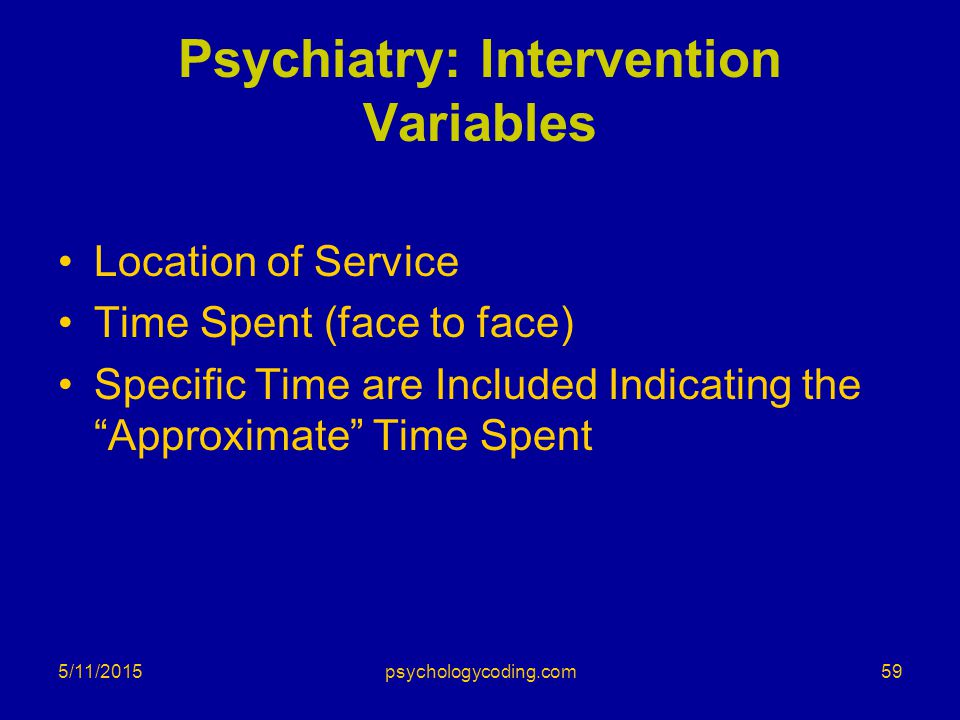 Psychiatry: Intervention Variables