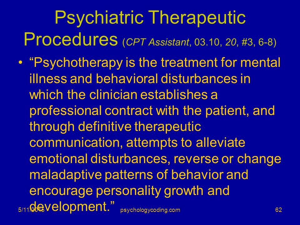 Psychiatric Therapeutic Procedures (CPT Assistant, 03.10, 20, #3, 6-8)