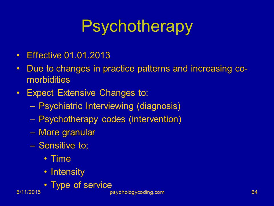 Psychotherapy Effective 01.01.2013