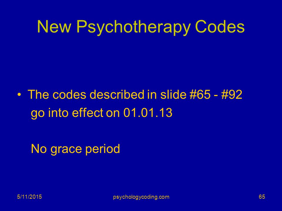 New Psychotherapy Codes