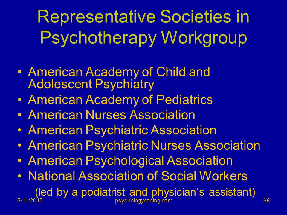 Representative Societies in Psychotherapy Workgroup