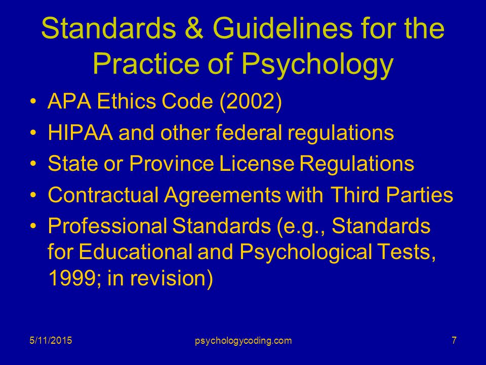 Standards & Guidelines for the Practice of Psychology