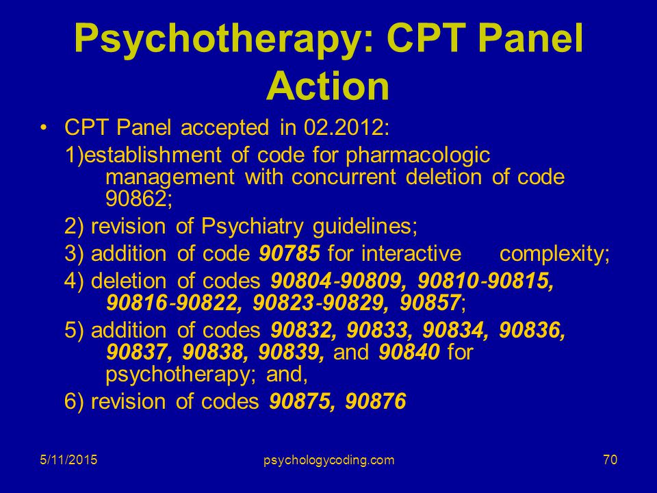 Psychotherapy: CPT Panel Action