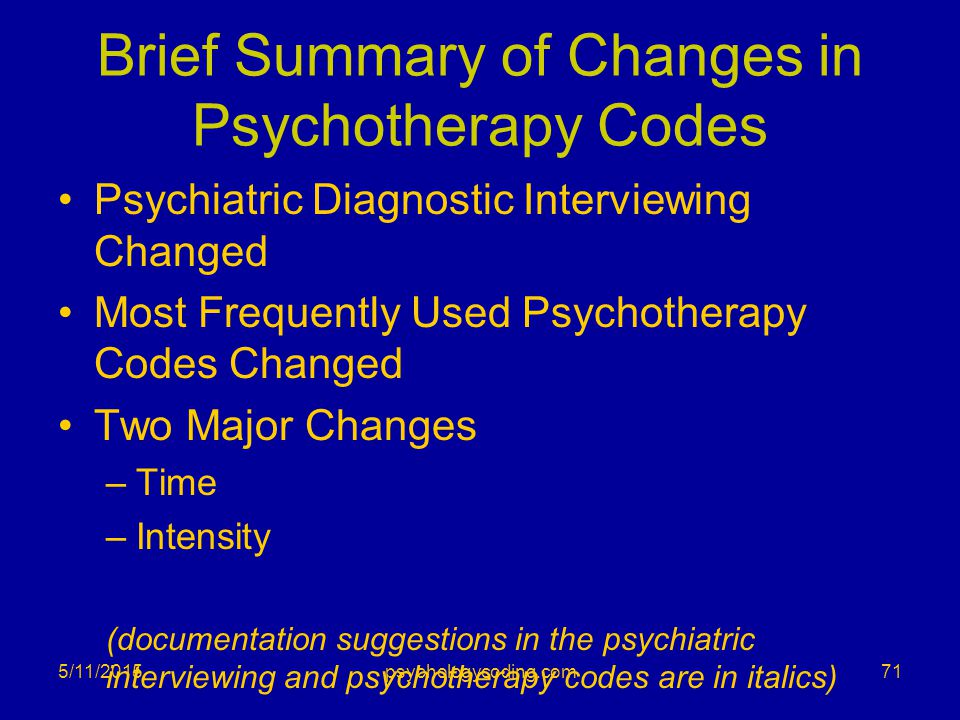 Brief Summary of Changes in Psychotherapy Codes